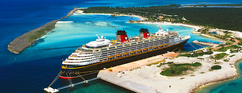 A Cruise Ship Docked Next To The Castaway Cay Island