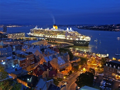A Cruise Ship Docks in Quebec, Canada